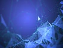Futuristisch neuraal netwerk van trigonometrische cijfers, punten en veelhoeken Achtergrond voor graffitiblauw royalty-vrije illustratie