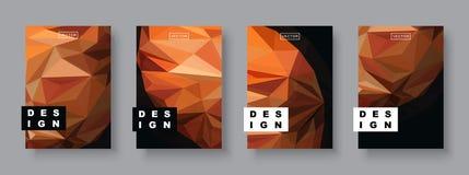 Futuristisch ontwerp Toekomstig Affichemalplaatje Minimaal Geometrisch Patroon Veelhoekige halftone De illustratie van de planeet Stock Fotografie