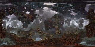 Futuristisch panorama 360 met fractal milieu voor 3D of VR Royalty-vrije Stock Foto's