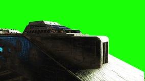 Futuristisch RuimteSchip het realistische schip van de metaaloppervlakte, verplaatsing en normale kaart Groene het schermlengte stock footage
