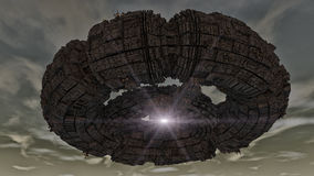 Futuristisch ruimteschipufo Stock Fotografie
