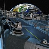 Futuristisch ruimtestation royalty-vrije illustratie