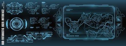Futuristisch steuern Sie, Technologie, Armaturenbrett GPS-Karte aufzeichnend HUD-Benutzerschnittstelle, Technologieschirm der vir lizenzfreie abbildung