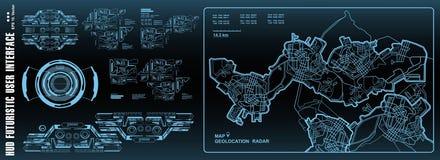 Futuristisch steuern Sie, Technologie, Armaturenbrett GPS-Karte aufzeichnend HUD-Benutzerschnittstelle, Technologieschirm der vir vektor abbildung
