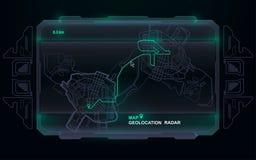 Futuristisch steuern Sie, Technologiearmaturenbrett GPS aufzeichnend, das Karte aufspürt und Bewegung und endgültiges Bestimmungs lizenzfreie abbildung