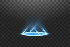 Futuristisch teleportieren Sie Magisches Fantasieportal Lichteffekt Blaue Kerzen Strahlen einer Nachtszene mit Funken auf einem t lizenzfreie abbildung