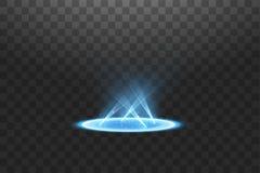 Futuristisch teleportieren Sie Magisches Fantasieportal Lichteffekt Blaue Kerzen Strahlen einer Nachtszene mit Funken auf einem t vektor abbildung