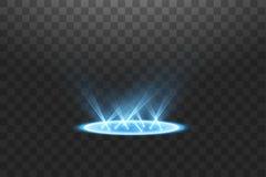 Futuristisch teleportieren Sie Magisches Fantasieportal Lichteffekt Blaue Kerzen Strahlen einer Nachtszene mit Funken auf einem t stock abbildung