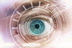 Futuristisch visie, wetenschaps en aftastenconcept Stock Foto's