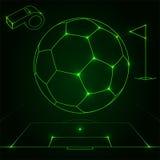 Futuristisch voetbalobjecten overzicht royalty-vrije illustratie
