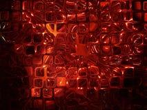 Futuristische abstracte die achtergrond van rode transparante kubussen wordt gemaakt. Royalty-vrije Stock Afbeeldingen