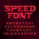 Futuristische alfabet vectordoopvont Snelheidseffect type letters en getallen op een abstracte achtergrond vector illustratie