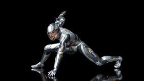 Futuristische androïde militairvrouw in kogelvrij pantser, militair die cyborgmeisje met sc.i-FI geweerkanon wordt bewapend die o vector illustratie