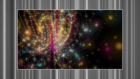 Futuristische animatie met gloeiende deeltjesvoorwerp en strepen in langzame motie, 4096x2304-lijn 4K stock video