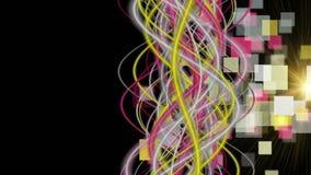 Futuristische animatie met het voorwerp van de streepgolf, vierkanten en het knipperen licht in langzame motie, 4096x2304-lijn 4K stock videobeelden