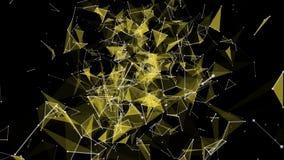 Futuristische Animation mit gl?henden Dreiecken in der Zeitlupe, 4096x2304 Schleife 4K stock abbildung