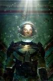 Futuristische astronaut in ruimtepak Stock Afbeelding
