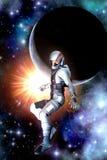 Futuristische Astronautensonne und -planet lizenzfreie abbildung