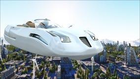Futuristische auto die over de stad, stad vliegen Vervoer van de toekomst Lucht Mening het 3d teruggeven royalty-vrije illustratie