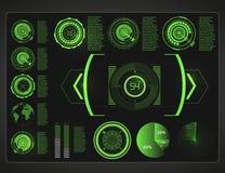 Futuristische Benutzerschnittstelle Weltraum Hud-Hintergrundes Infographic Elemente Digital-Daten, abstrakter Hintergrund des Ges stock abbildung