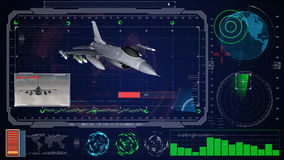 Futuristische blaue virtuelle grafische NotenBenutzerschnittstelle HUD Flugzeug des Jet f 16 Stockfoto