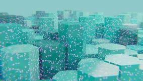Futuristische blauwe gebroken hexagon achtergrond met purpere barsten stock illustratie