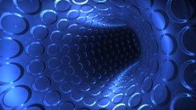 Futuristische blauwe lichte tunnel, naadloze lijn, voorraadlengte stock illustratie