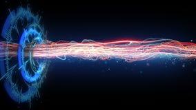 Futuristische cirkelvorm en horizontale energiestraal Stock Afbeelding