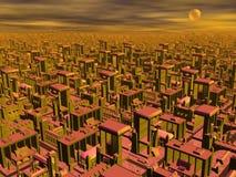 Futuristische 3D cityscape - geef terug Stock Foto