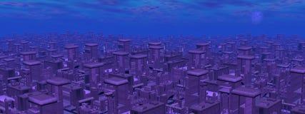 Futuristische 3D cityscape - geef terug Royalty-vrije Stock Foto