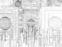 Futuristische de Structuurvector van de Megalopolisstad Stock Afbeeldingen
