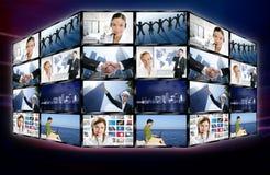 Futuristische digitale het schermmuur van het TV videonieuws royalty-vrije stock foto's
