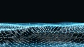Futuristische Dots And LinesTechno Struktur der Zusammenfassungs-3D stockfotografie