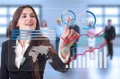 Futuristische financiële de groeigrafieken op het transparante scherm Stock Afbeeldingen