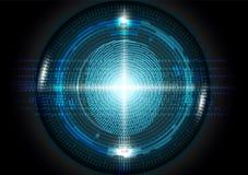 Futuristische Fingerabdruckscannentechnologiekonzept-Vektorillustration Stockfoto