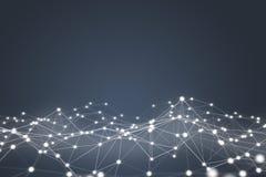 Futuristische Form der technologischen Verbindung, weißes Punktnetz, Wiedergabe 3D Lizenzfreies Stockbild