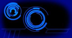 Futuristische ganz eigenhändig geschriebe Platte des virtuellen Monitors, blauer abstrakter Hintergrund Stockfoto
