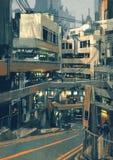Futuristische gebouwen stock illustratie