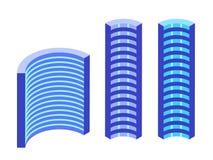 Futuristische gebouwen Isometrische pictogrammen royalty-vrije illustratie