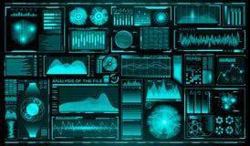 Futuristische gebruikersinterfacereeks HUD Toekomstige infographic elementen Technologie en wetenschapsthema Analysesysteem aftas vector illustratie
