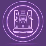 Futuristische glühende Coffemaker-Ikonen-Sensor-Neonart Vektor eps10 Lizenzfreie Stockfotos