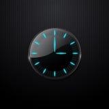 Futuristische Glasborduhr auf schwarzem Hintergrund Stockfoto