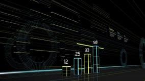 Futuristische grafiek op de straat met gebouwenlichten vector illustratie