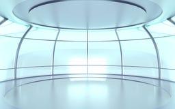 Futuristische Halle mit Glaswänden