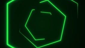 Futuristische hexagon de tunnelvj achtergrond van HUD 4K de grafiek van de neonmotie voor leiden royalty-vrije illustratie