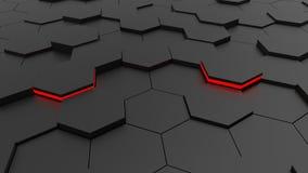 Futuristische hexagonale zwarte vloer en rode lichten vector illustratie