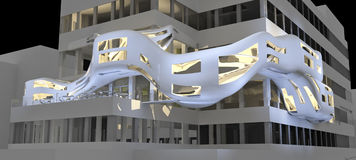 Futuristische highrise illustrati royalty-vrije stock afbeelding