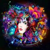 Futuristische kleurrijke achtergrond met mooie vrouwelijke gezicht en vlinders stock illustratie