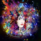 Futuristische kleurrijke achtergrond met mooie vrouwelijke gezicht en vlinders royalty-vrije illustratie