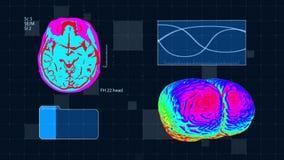 Futuristische medische interface Hersenenmrt aftasten De volledige medische kleurrijke achtergrond van HD royalty-vrije illustratie